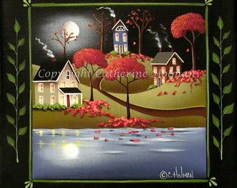 MoonLight in Cottage Grove autumn folk art painting