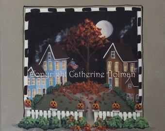 Jack-O'-Lantern Lane Halloween Folk art Print