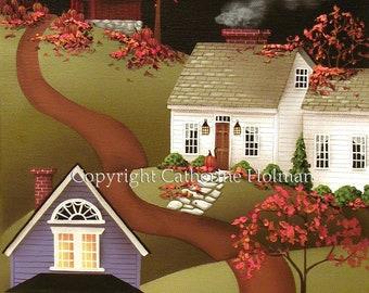 Pumpkin Harvest Time in Mapleton Autumn Folk Art Print
