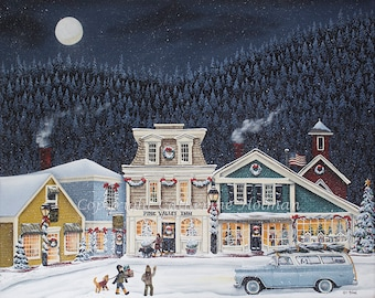 Folk Art Print Christmas in Pine Valley by Catherine Holman