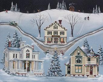 Christmas Folk Art Print Village of Snowflake