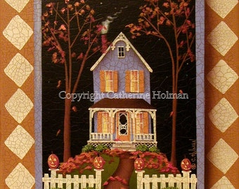 Halloween Hill Folk Art Print