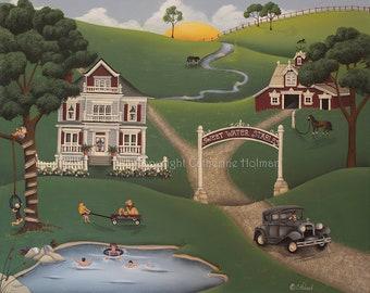 Sweet Water Stables Original Folk Art Painting