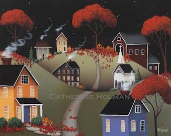 Primitive Halloween Folk Art Print Wickford Village by Catherine Holman