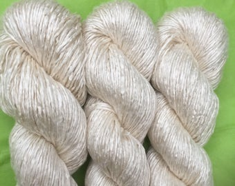 Silk Yarn - Hand Dyed Worsted weight - Shade: Natural Ivory