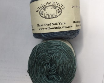 SALE 50g Fingering 4ply weight Silk Yarn Hand Dyed  - REDUCED