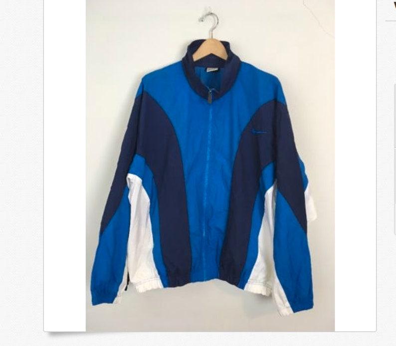 Vintage Nike Windbreaker Jacket colorblock Blue White Mens XL 90s