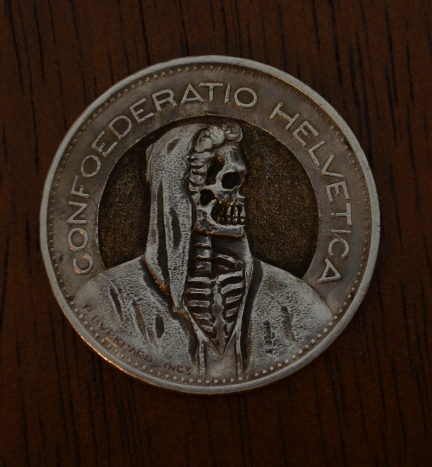 Swiss 5 Franc Hobo Nickel Style Engraved Coin Carving Skeleton Skull Death  Halloween