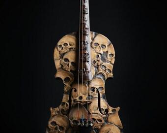 Carved Skull Violin Art - Memento Mori, Day of the Dead, Carved Violin, Skull Carving, Carved Skulls, Handmade Skulls