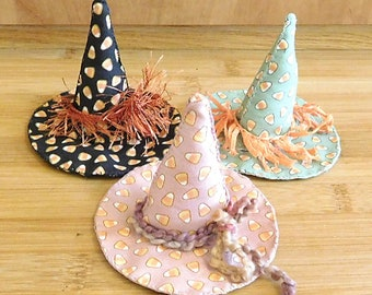 Halloween  Candy Corn Witch Hats  /    Fall  Ornaments  /  Primitive  Bowl Fillers   /   Wreath Decorations