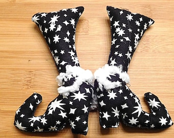Black Halloween Witch Boots  /  Primitive Witch Shoes  /  Spooky Holiday Decor  /  Fall Decorations  /  Wreath Decorations