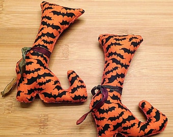Halloween Witch Boots  /  Primitive Witch Ornaments  /  Fall Decor  /  Wreath Decorations