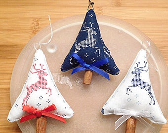 Christmas Trees Ornaments White and Dark Blue Bowl Fillers Primitive Holiday Decor