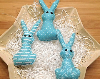 Easter Rabbits Ornaments Primitive Bowl Fillers Aqua Blue Spring Holiday Decorations