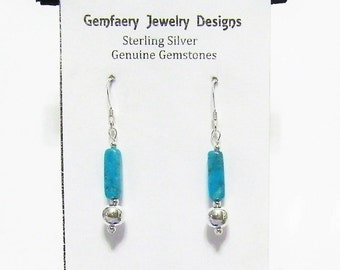 Sterling Silver Natural APACHE JASPER Gemstone Dangle Earrings...Handmade USA