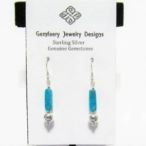 Sterling Silver Rare Natural Castle Dome Mine TURQUOISE Gemstone Dangle Earrings...Handmade USA
