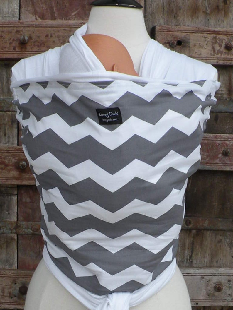 ORGANIC BAMBOO Baby Wrap Sling Carrier-Gray Chevron-One Size Fits All-Newborn to Toddler-DvD Included