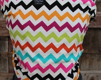 SUPER LIGHTWEIGHT-Baby Sling-ORGANIC BAMBoO Baby Wrap Sling Carrier-Rainbow Chevron on Gray-One Size Fits All-DvD Included