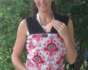 ORGANIC Cotton BABY WRAP Sling Carrier-Pink Wallpaper-DvD Included-One Size Fits All