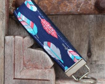Key Fob/Keychain/Wristlet-Feathers On Navy