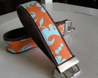 READY TO SHIP-Beautiful Key Fob/Keychain/Wristlet-Orange/Blue Rowan