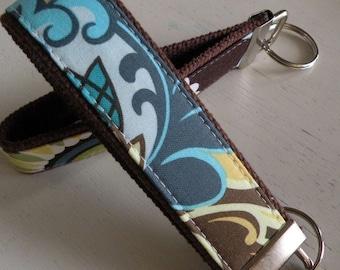 READY TO SHIP-Beautiful Key Fob/Keychain/Wristlet-Olive Blue