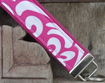 READY TO SHIP-Beautiful Key Fob/Keychain/Wristlet-Pink Damask on Pink
