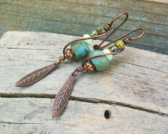 Czech Picasso glass beads wire wrapped in copper with feather charm dangle - boho earthy rustic dangle earrings