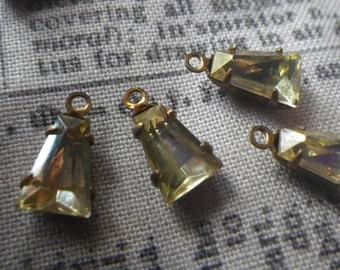 Pretty Jonquil Yellow Vintage Glass 8x5x2mm Keystone Brass Ox Earring Drops 6 Pcs