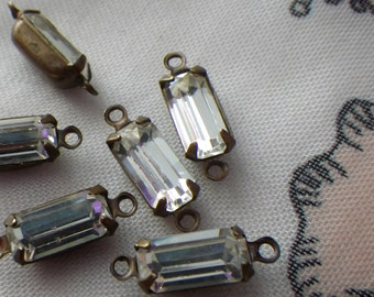 White Opal Glass Square 6x6mm Brass Ox Connectors Two Loops 6 Pcs