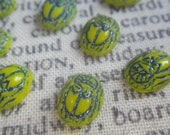 Opaque Yellow and Blue Vintage Glass Scarab Cabochons 8x6mm 8 Pcs