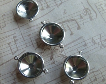 Silver Rivoli 16mm Settings Slimline Two Loops 4 Pcs