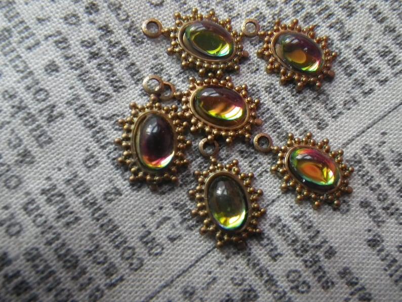 Vivid Vitrail Tiny Spiky Drops Brass Ox 14x9mm One Loop 6 Pcs