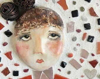 Mosaic Girl Mixed Media Art