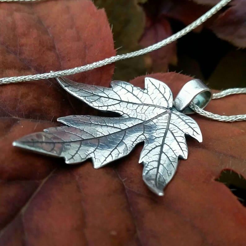 Silver Maple Leaf Necklace image 0