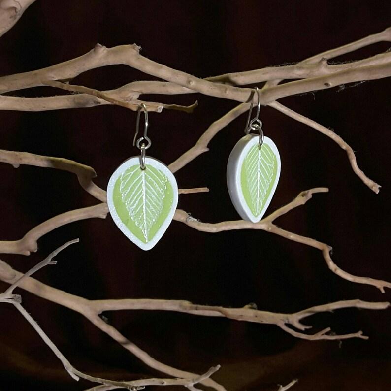 Bright Elm Leaf Earrings image 1