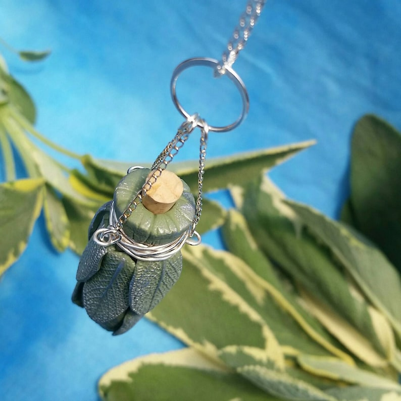 Sage Smudge Bottle Necklace with Silver Chains image 1