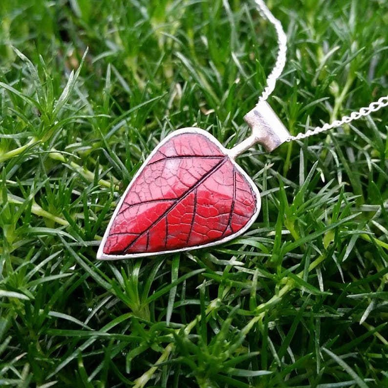 Reversible Silver and Red Leaf Pendant image 0