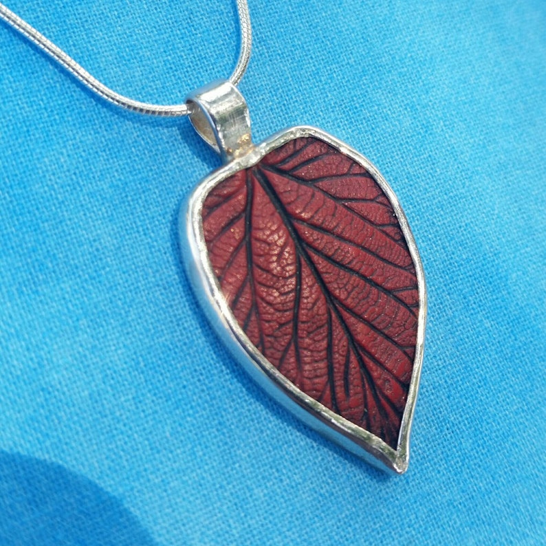 Red and Silver Elm Necklace image 1