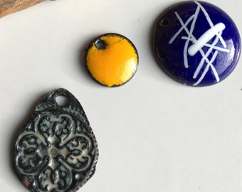 Enamel on Copper Charms, Copper  Clay Charm, Destashed Charms, Dark Blue and White Enamel, Yellow Enamel, Etsy, Etsy Jewelry