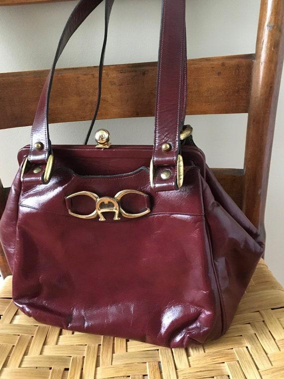 Vintage Etienne Aigner Handbag, Red Handbag, Oxblo