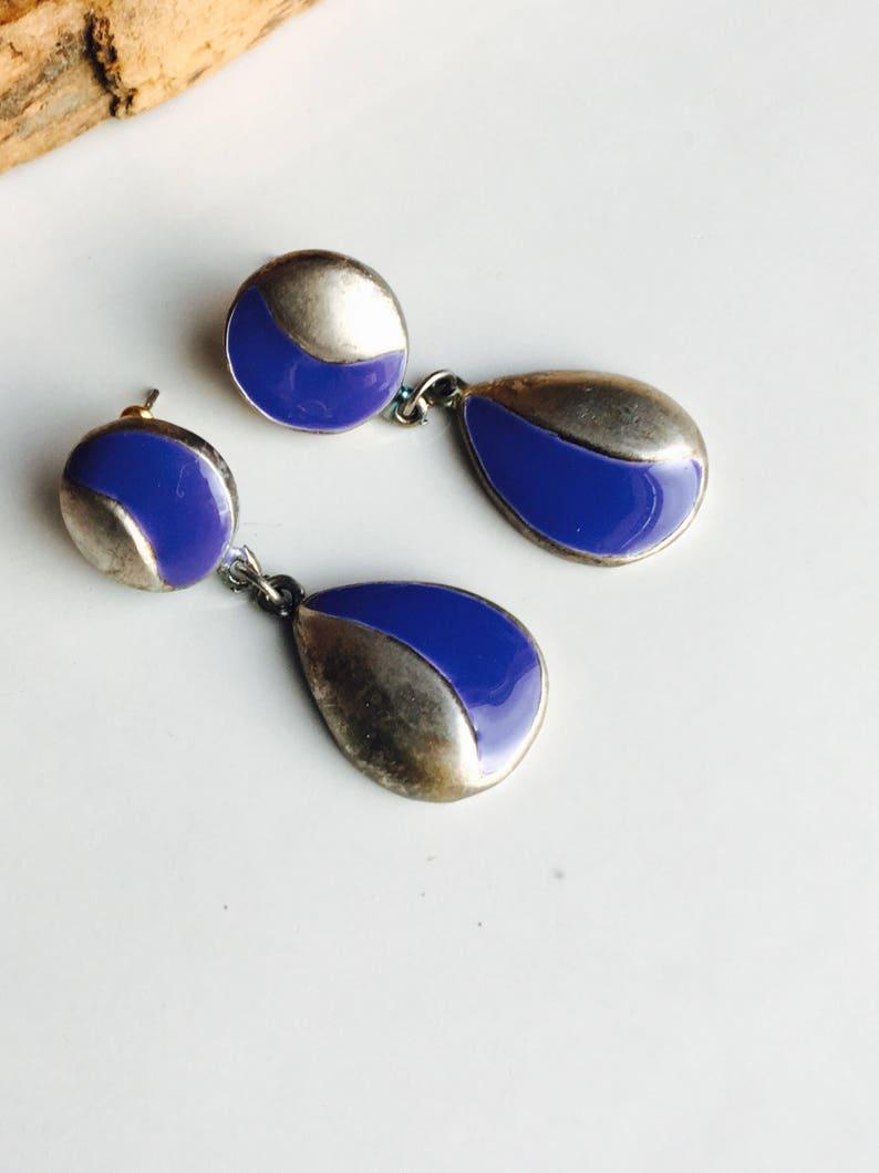 0f3b3190de3c7 AUGUST SALE Vintage Purple and Silver Earrings, Dangle Earrings, Enamel  Earrings, 90's Earrings, Etsy, Etsy Jewelry, Vintage Earrings