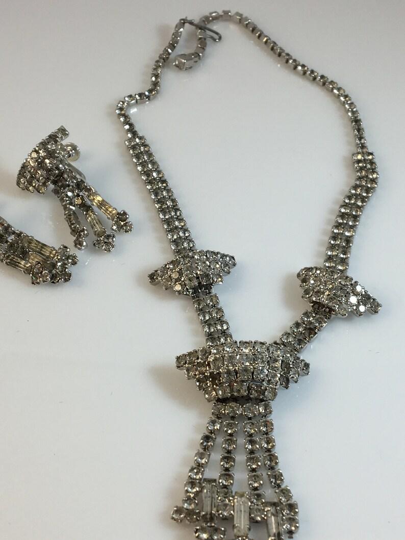 Wedding Jewelry Gift Etsy Jewelry REDUCED Rhinestone Necklace and Earring Set Vintage Glam Etsy Vintage Bridal Set Bridal Glam