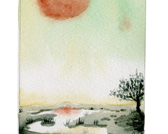 The low watery places - 5x7 giclee bamboo print - fantasy landscape watercolor illustration - river, tree