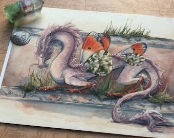 Orange Tip East Asian Dragon - 5x7 giclee bamboo print - fantasy butterfly dragon art
