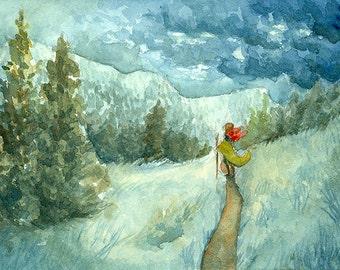 The Wayfarer - 5x7 giclee bamboo print - fantasy mountain adventure watercolor art