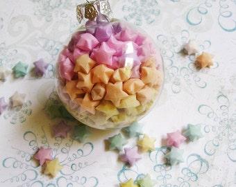 Origami Star Globe Christmas Ornament - Berry Glow, pink peach yellow pastel