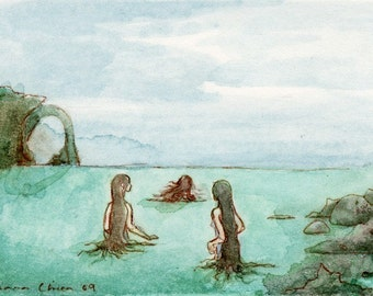 ACEO mermaid selkie painting - giclee bamboo print - The sea-maids went out