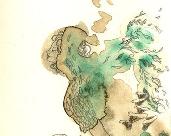 The Moss Lady - fantasy watercolor ACEO print, woodland nature spirit girl