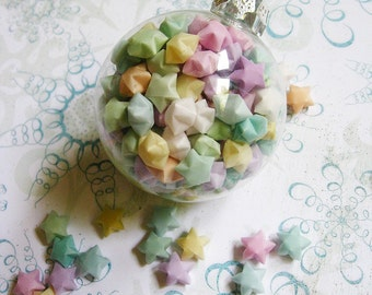Christmas Ornament - Origami Star Globe - Iced Sugarplum, pink blue purple yellow pastel